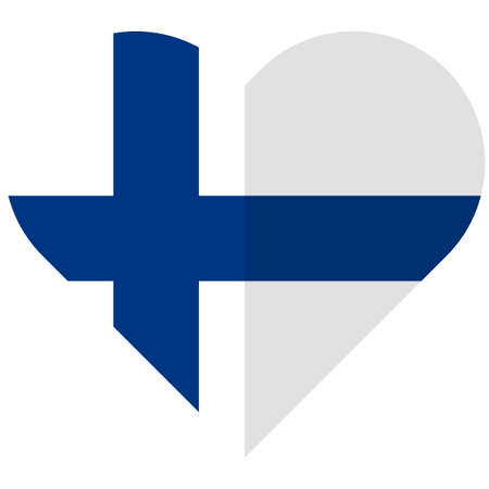 europe closeup: Vector image of the Finland flat heart flag