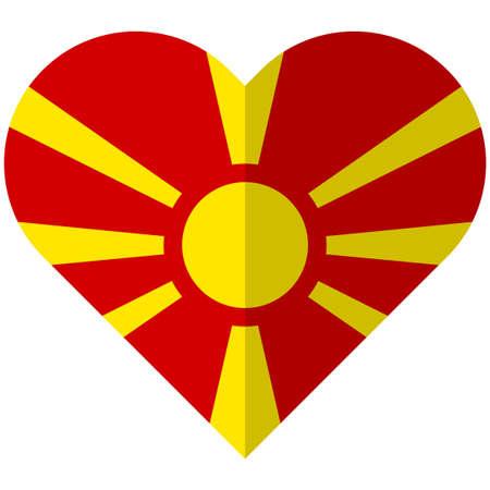 Vector image of the Macedonia flat heart flag