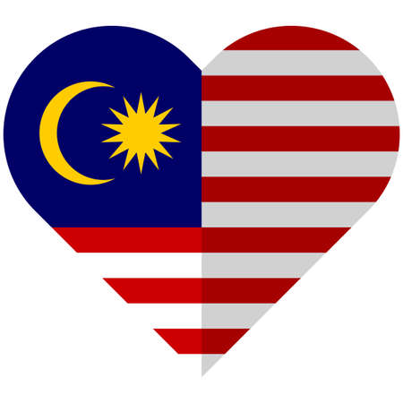 asian business team: Vector image of the Malaysia flat heart flag