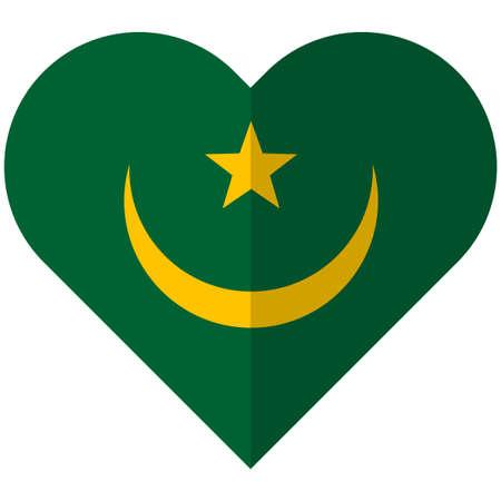 Vector image of the Mauritania flat heart flag Illustration