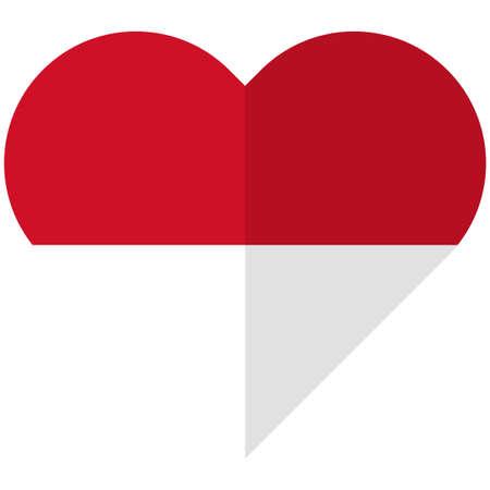 all european flags: Vector image of the Monaco flat heart flag Illustration