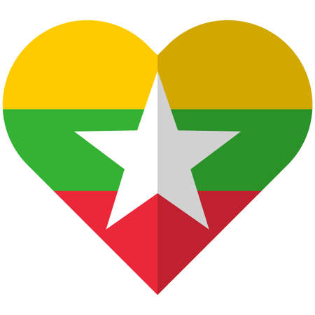 Vector image of the Myanmar flat heart flag