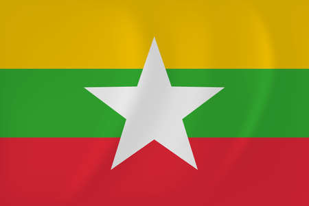Vector image of the Myanmar waving flag Illustration