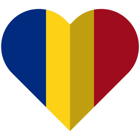 Vector image of the Romania flat heart flag