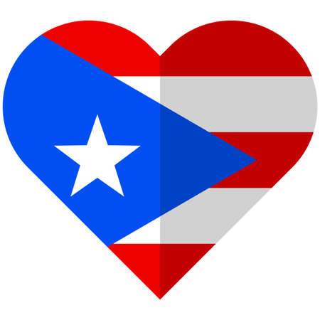 Vector image of the Puerto-Rico flat heart flag