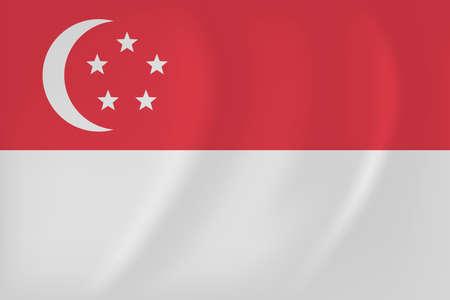 singaporean flag: Vector image of the Singapore waving flag