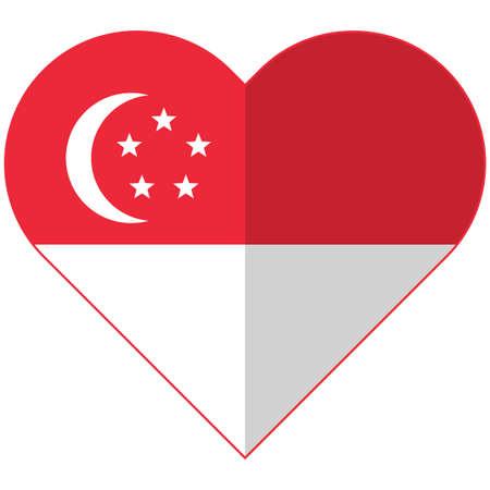 singaporean flag: Vector image of the Singapore flat heart flag