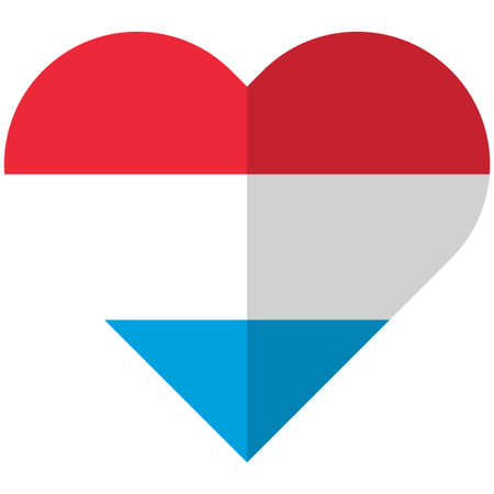 all european flags: Vector image of the Luxembourg flat heart flag Illustration