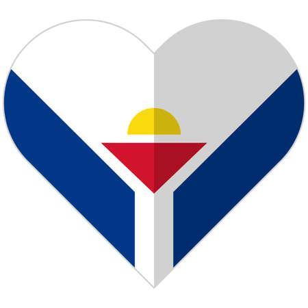 overseas: Vector image of the Saint-Martin flat heart flag