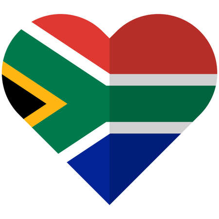 Vector image of the South Africa flat heart flag