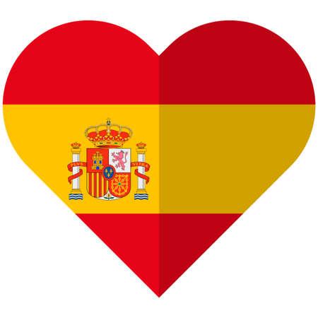 barcelona: Vector image of the Spain flat heart flag