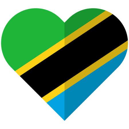 Vector image of the Tanzania flat heart flag