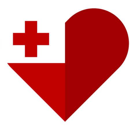 Vector image of the Tonga flat heart flag Illustration