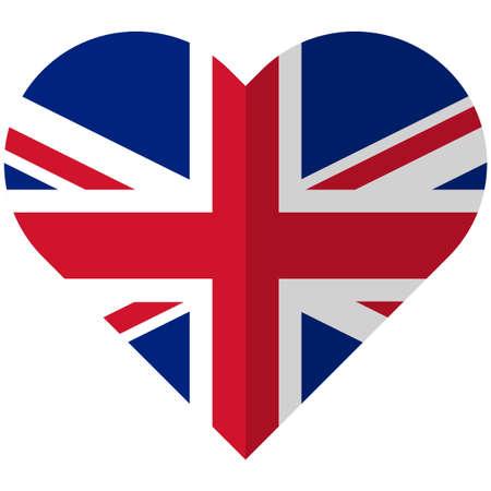 Vector image of the United Kingdom flat heart flag Ilustrace