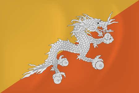 Vector image of the Bhutan waving flag Illustration