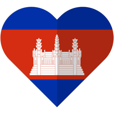 cambodian: Vector image of the Cambodia heart flag Illustration