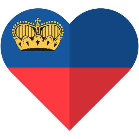 Vector image of the Liechtenstain heart flag Illusztráció