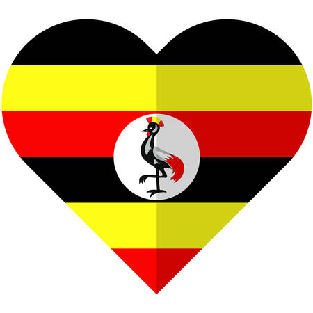 proportional: Vector image of the Uganda heart flag