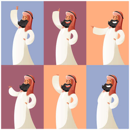 Vector image of the Set of Muslim cartoon characters