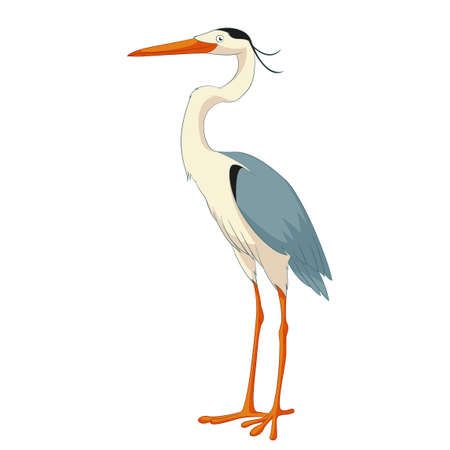 Cartoon smiling Heron