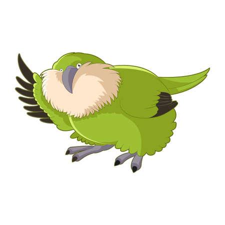 Cartoon greeting Kakapo Ilustração