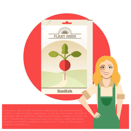 the sprouting: Pack of Radish seeds icon Illustration