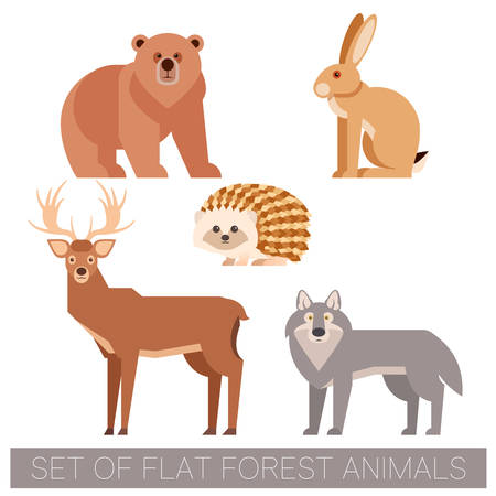 Set of flat forest animals