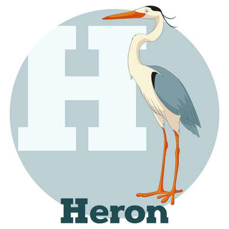 Vector Image of the ABC Cartoon Heron Illustration