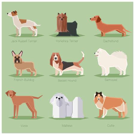 犬フラット アイコン セット  イラスト・ベクター素材