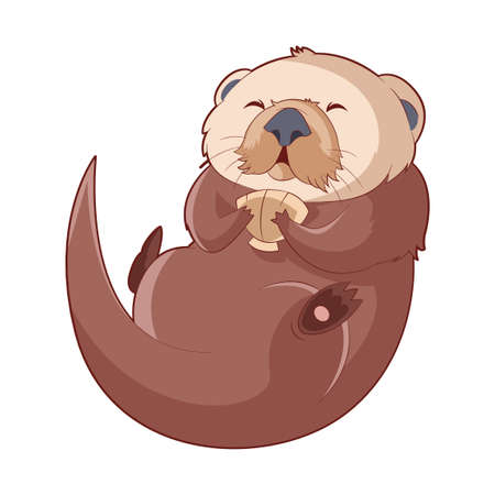 Cartoon smiling Otter Stock Photo