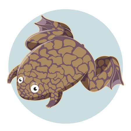 Vector image of the Cartoon smiling Xenopus Illustration