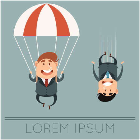 vector image of the Business concept about parachute Ilustracja
