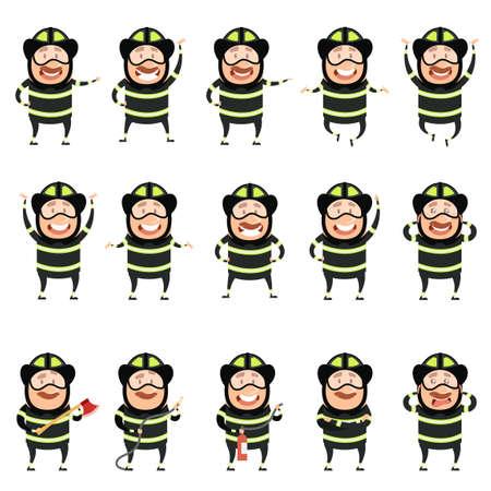 Set of flat firemen cartoon character icons