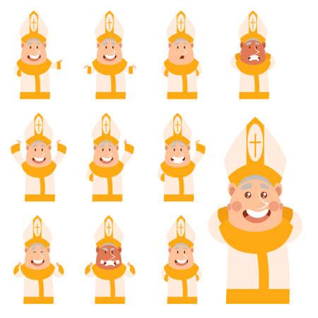 Set of flat cartoon Pope icons