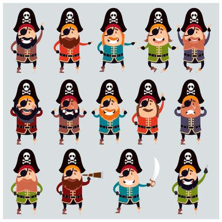 piracy: Set of flat pirate icons