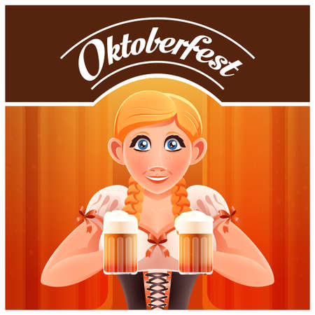 Vector image of the Octoberfest with woman and beer banner