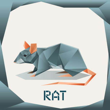 Vector image of the Origami grey Rat