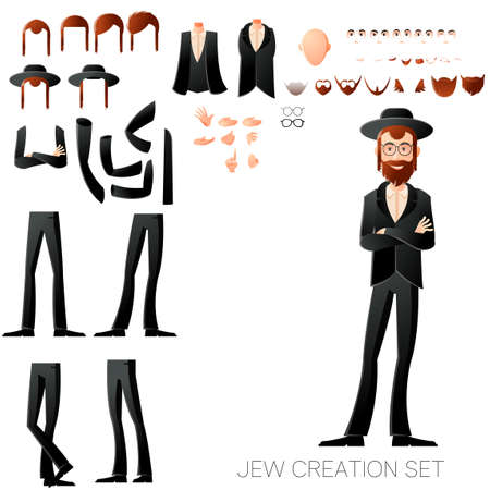 Vector image of the Jew create character set