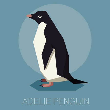Flat Adelie penguin. Stock Illustratie
