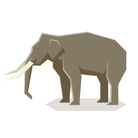 Vector image of the Flat geometric Asian Elephant Illustration