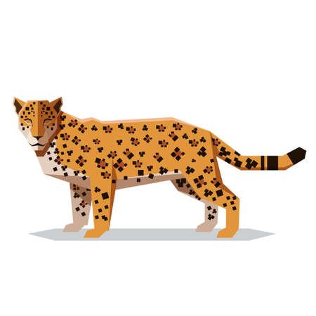 Vector image of the Flat polygonal Jaguar illustration.
