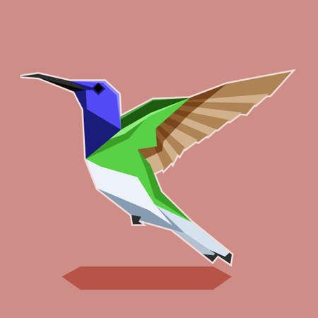 Vector image of the Flat polygonal Hummingbird illustration.