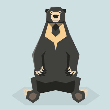 Vector image of the Flat polygonal Sun Bear Illustration