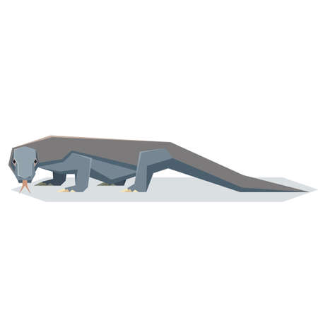 Vector image of the Flat geometric Komodo dragon
