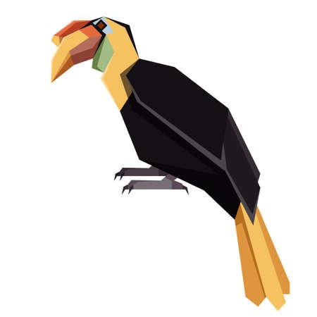 Vector image of the Flat geometric Winkled Hornbill Illustration