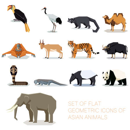 Set of flat geometric asian icons