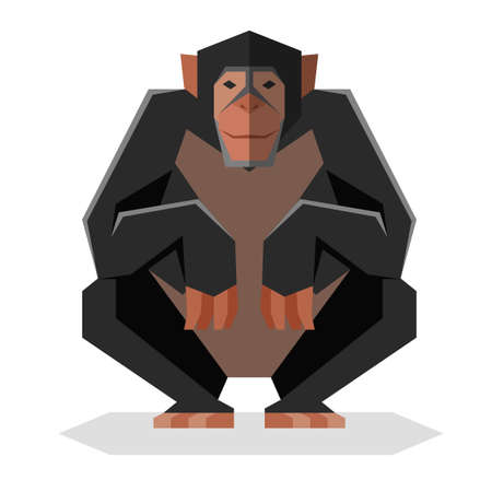 Flat geometric Chimpanzee Illustration