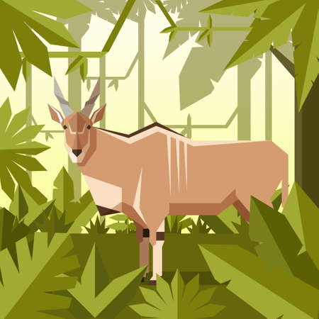 Flat geometric jungle background with Common eland Stock Vector - 100737578