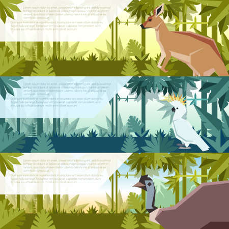 Vector image of the Set of flat banners with australian kangaroo, zockatoo and emu