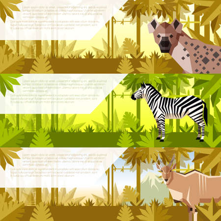 Vector image of the Set of flat banners with african animals hyena, zebra and Common eland Illustration